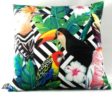 Casa Padrino Luxus Kissen Miami Parrots & Flowers Schwarz / Weiß / Mehrfarbig 45 x 45 cm - Feinster Samtstoff - Wohnzimmer Deko Zierkissen
