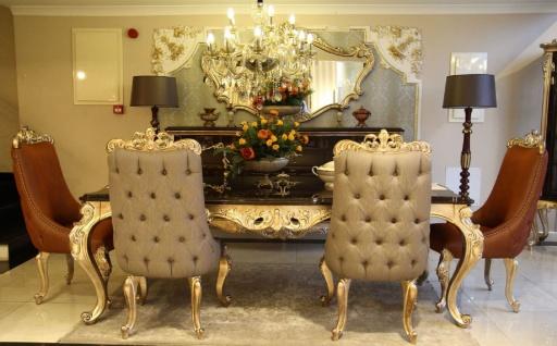 Casa Padrino Luxus Barock Esstisch Dunkelbraun / Gold - Handgefertigter Massivholz Esszimmertisch - Möbel im Barockstil - Edel & Prunkvoll