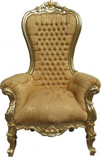 Casa Padrino Barock Thron Sessel Majestic Medium Gold Muster / Gold Mod2 mit Bling Bling Glitzersteinen - Riesensessel - Thron Stuhl Tron