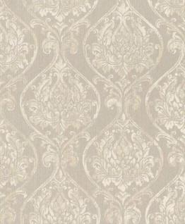 Casa Padrino Barock Wohnzimmer Tapete Creme / Grau 10, 05 x 0, 53 m - Hochwertige Textiltapete im Barockstil