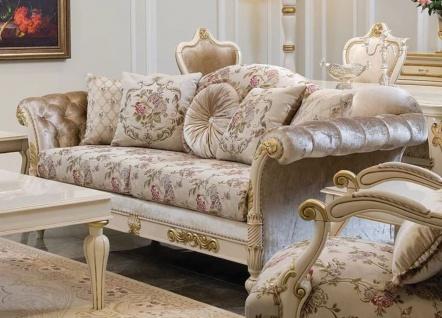 Casa Padrino Luxus Barock Sofa Creme / Rosa / Weiß / Gold 228 x 90 x H. 100 cm - Edles Wohnzimmer Sofa mit Blumenmuster und dekorativen Kissen - Barock Wohnzimmer Möbel