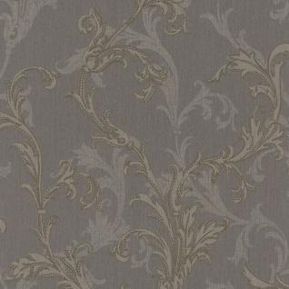 Casa Padrino Barock Textiltapete Grau / Silber / Braun 10, 05 x 0, 53 m - Hochwertige Wohnzimmer Tapete im Barockstil