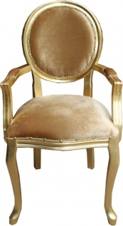 Casa Padrino Barock Luxus Esszimmer Medaillon Stuhl mit Armlehnen Gold Samtstoff / Gold