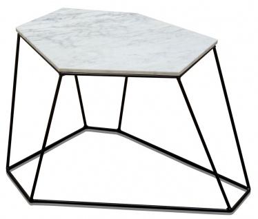 Casa Padrino Designer Couchtisch Weiß mit Muster / Schwarz 64 x 48 x H. 40 cm - Luxus Wohnzimmertisch mit Marmorplatte
