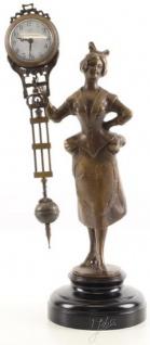 Casa Padrino Jugendstil Tischuhr Dame Bronze / Schwarz 15 x 11, 7 x H. 33 cm - Bronzefigur mit Marmorsockel und Uhr - Schreibtischuhr