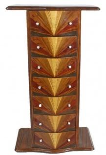 Casa Padrino Art Deco Mahagoni Kommode mit 7 Schubladen und Ablagefläche Braun 70 x 40 x H. 120 cm - Art Deco Möbel