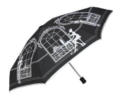 Chantal Thomass Designer Regenschirm mit einer open/close Automatik, Model Paris schwarz - Taschenschirm - Automatikschirm