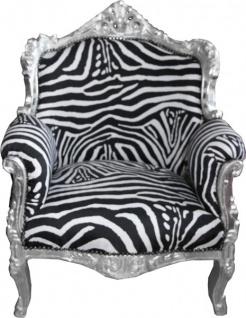 Casa Padrino Barock Sessel Lord Mod1 Zebra / Silber - Limited Edition