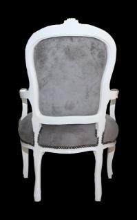 Casa Padrino Barock Salon Stuhl Grau/Weiss - Mod1 - Vorschau 3