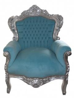 Casa Padrino Barock Sessel King Blau / Silber 85 x 85 x H. 120 cm - Barock Möbel