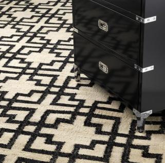 Casa Padrino Wohnzimmer Teppich Naturfarben / Schwarz 300 x 400 cm - Handgewebter Luxus Teppich