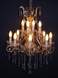 Casa Padrino Barock Kristall Kronleuchter 12-Flammig Gold ModK4 - Hängeleuchte Lüster Hängelampe Deckenlampe