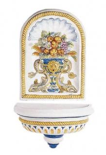 Casa Padrino Luxus Jugendstil Wandbrunnen Weiß / Mehrfarbig 62 x 31 x H. 107 cm - Handgefertigter & handbemalter Keramik Brunnen - Barock & Jugendstil Garten Deko Accessoires