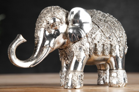 Designer Skulptur Elefant antik silber Höhe 13 cm, Breite 22 cm, Tiefe 7 cm - edle Skulptur aus Polyresin