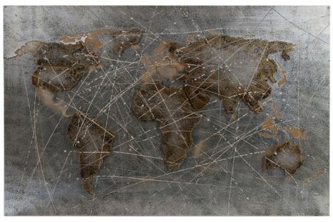 Casa Padrino Luxus Metall Ölbild Weltkarte Mehrfarbig 120 x 5 x H. 80 cm - Ölgemälde mit 3D Effekt