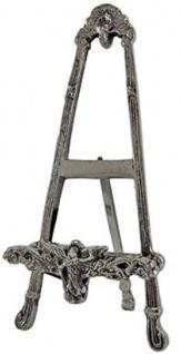 Casa Padrino Jugendstil Staffelei Antik Silber 12 x 11 x H. 27 cm - Kleine Aluminium Standstaffelei mit ausklappbarem Ständer - Deko Accessoires