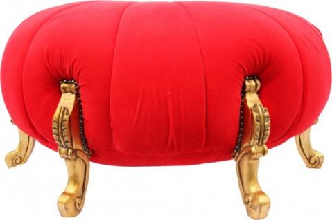 Großer Barock Rundhocker Ball Hocker Rot / Gold