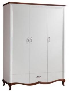 Casa Padrino Luxus Art Deco Schlafzimmerschrank Weiß / Dunkelbraun 164, 2 x 62, 5 x H. 209, 5 cm - Kleiderschrank mit 3 Türen und Schublade - Schlafzimmermöbel