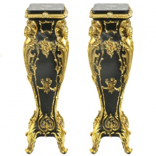 Casa Padrino Barock Marmor Säulen Set Gold / Schwarz 25 x 25 x H.70 Mod.2 - Marmor Säule (2 Stk) - Limited Edition