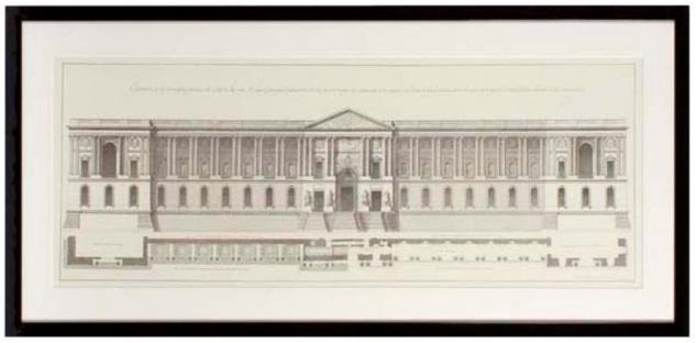 Casa Padrino Bilder / Kunstdruck Set Fassade vom Louvre Mehrfarbig 109 x H. 52 cm - Luxus Wohnzimmer Dekoration - Vorschau 3