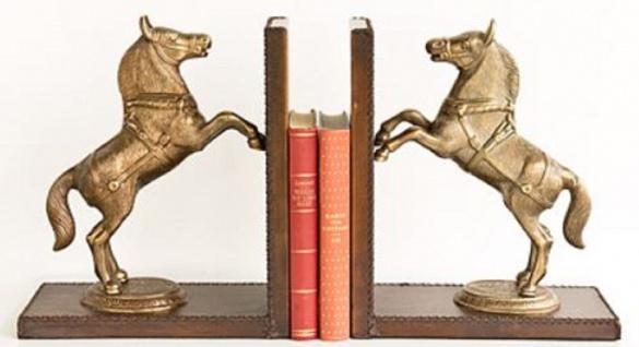 Casa Padrino Luxus Buchstützen Set Pferde Messingfarben / Braun 47, 5 x 11 x H. 28 cm - Deko Accessoires