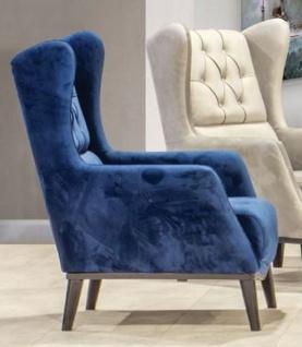 Casa Padrino Chesterfield Ohrensessel Blau / Schwarz 80 x 80 x H. 90 cm - Moderner Wohnzimmer Sessel - Chesterfield Möbel - Wohnzimmer Möbel