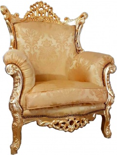 Casa Padrino Barock Sessel Al Capone Gold Muster / Gold 90 x 80 x H. 127 cm - Handgefertigter Antik Stil Wohnzimmer Sessel mit edlem Satinstoff - Barock Möbel