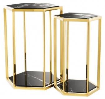 Casa Padrino Luxus Beistelltisch 2er Set in gold mit schwarzem Marmor - Luxus Qualität
