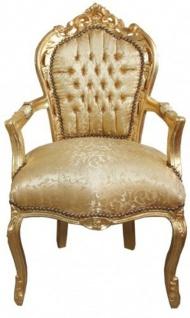 Casa Padrino Barock Esszimmer Stuhl Gold Blumen Muster / Gold mit Armlehnen - Möbel