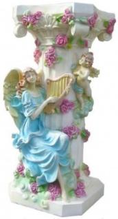 Casa Padrino Barock Säule Engel mit Harfe Weiß / Mehrfarbig H. 90 cm - Prunkvolle Antik Stil Säule - Barock Deko Accessoires