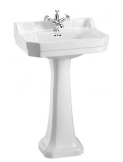 Casa Padrino Luxus Waschbecken mit Sockel 56 x 47 x H. 96 cm - Porzellan Waschbecken