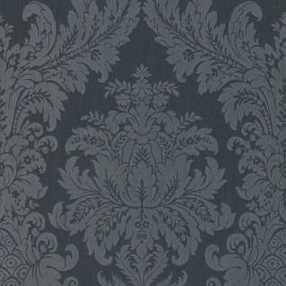 Casa Padrino Barock Textiltapete Schwarz / Grau 10, 05 x 0, 53 m - Luxus Wohnzimmer Tapete