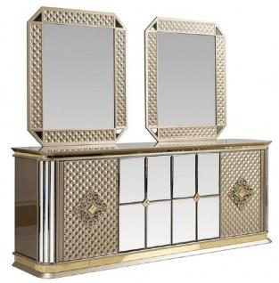 Casa Padrino Luxus Art Deco Möbel Set Beige / Gold - 1 Sideboard & 2 Spiegel - Edel & Prunkvoll