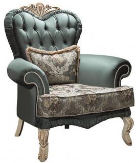 Casa Padrino Luxus Barock Wohnzimmer Sessel mit Glitzersteinen und dekorativem Kissen Grün / Creme / Beige 100 x 80 x H. 110 cm - Möbel im Barockstil