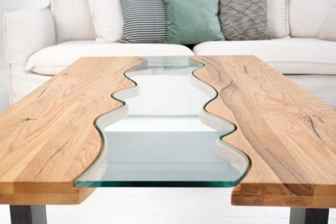 Casa Padrino Designer Massivholz Wildeiche Couchtisch mit Sicherheitsglas Natur 115cm x H. 45cm - Salon Wohnzimmer Tisch - Vorschau 4