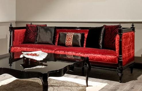 Casa Padrino Luxus Barock Sofa Rot / Schwarz - Handgefertigtes Wohnzimmer Sofa im Barockstil - Edle Barock Wohnzimmer Möbel