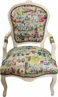 Casa Padrino Barock Salon Stuhl Comic Design / Antik Creme Weiß - Möbel Antik Stil