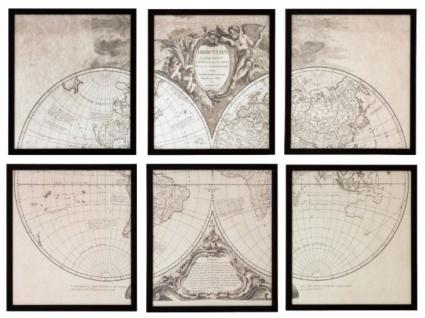 Casa Padrino Bilder Set Alte Welt Orbis Vetus Schwarz 47, 5 x H. 53, 5 cm - Luxus Deko