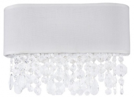 Casa Padrino Kristall Wandleuchte Weiß 30 x 13 x H. 18, 5 cm - Außergewöhnliche Leuchte mit Metallrahmen und Stoffbezug