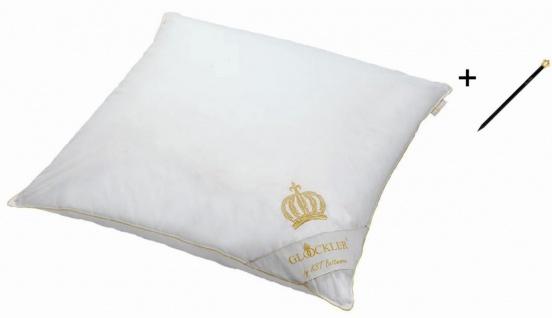 Harald Glööckler Designer Kopfkissen 80 x 80 cm Weiß / Gold + Casa Padrino Luxus Barock Bleistift mit Kronendesign