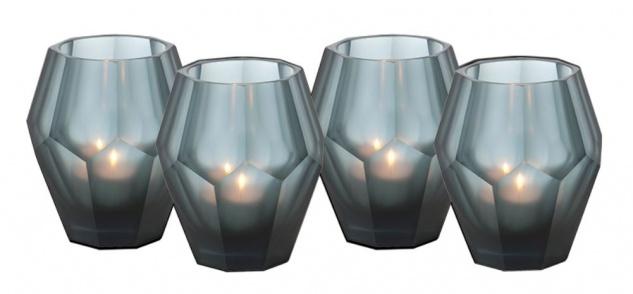 Casa Padrino Teelichthalter 4er Set Blau 8, 5 x H. 10 cm - Luxus Qualität