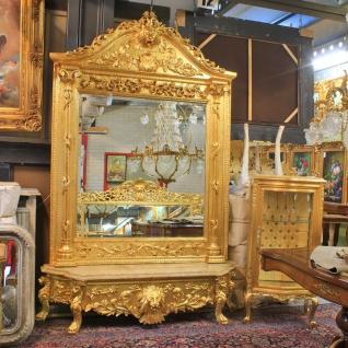 Casa Padrino Luxus Barock Spiegelkonsole Gold Lion mit Marmorplatte - Luxus Wohnzimmer Möbel Konsole mit Spiegel Löwenkopf