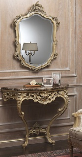 Casa Padrino Luxus Barock Möbel Set Konsole mit Spiegel Gold / Grau / Braun - Prunkvoller handgeschnitzter Konsolentisch mit Wandspiegel - Hotel Restaurant Schloss Möbel - Luxus Qualität - Made in Italy