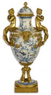 Casa Padrino Jugendstil Vase mit Deckel Weiß / Blau / Gold 25, 8 x 24, 5 x H. 51, 3 cm - Barock & Jugendstil Deko