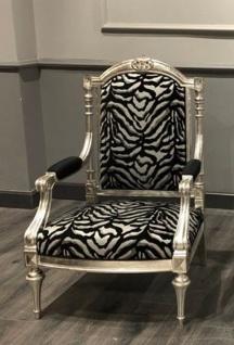Casa Padrino Luxus Barock Sessel Schwarz / Silber / Antik Silber - Wohnzimmer Sessel im Barockstil - Barock Wohnzimmer Möbel - Vorschau 1