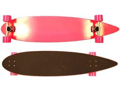 Moose Pintail Longboard Dipped Pink / Black Grip Complete Skateboard Cruiser