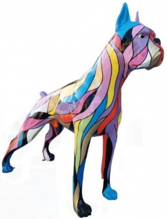 Casa Padrino Designer Dekofigur Boxer Hund Mehrfarbig 190 x H. 173 cm - Riesige Skulptur - Gartendeko