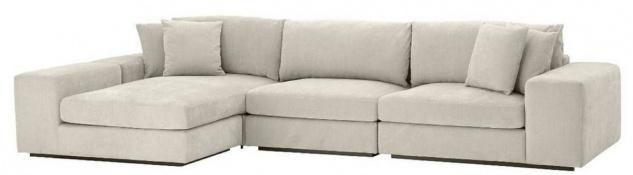 Casa Padrino Luxus Ecksofa Sandfarben / Schwarz 380 x 200 x H. 90 cm - Wohnzimmer Sofa mit Kissen - Luxus Qualität