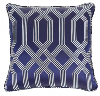 Casa Padrino Luxus Kissen blau mit Muster 50 x 50 cm - Luxus Accessoires