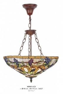 Casa Padrino Tiffany Hängeleuchte 40cm 3-Flammig Leuchte - Glas Mosaik Lampe Handgefertigt